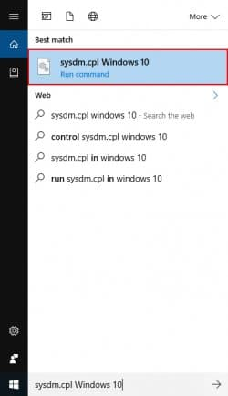 Search Box sysdm.cpl Windows 10
